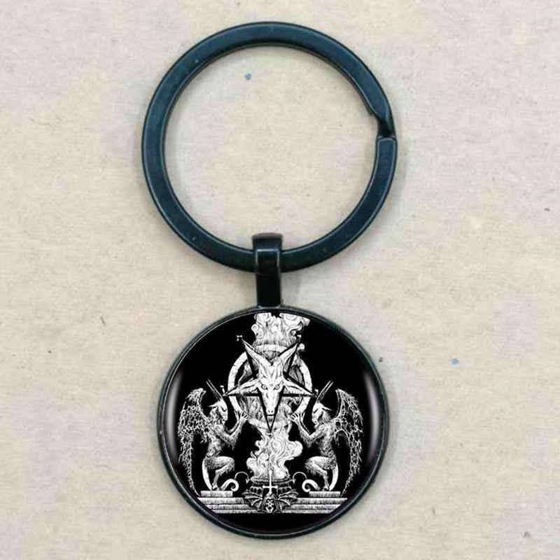 แฟชั่น Baphomet Pentagram สร้อยคอ Vintage เงินสีพวงกุญแจเครื่องประดับคลาสสิกแก้ว Cabochon จี้