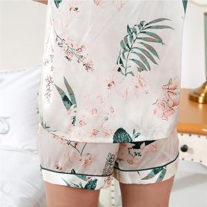 Image 5 - Yaz taze 100% ipek kısa pijama setleri kadın Zarif kısa kollu seksi doğal ipek pijama kadın gecelik saten