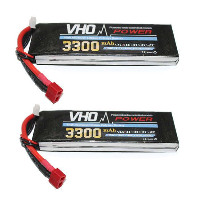 VHO 7.4v 2pcs 2S 3300mAh 30C Lipo Battery RC Quadcopter Drone Car Airplane Helicopter Lithium Battery Remote Control Toys