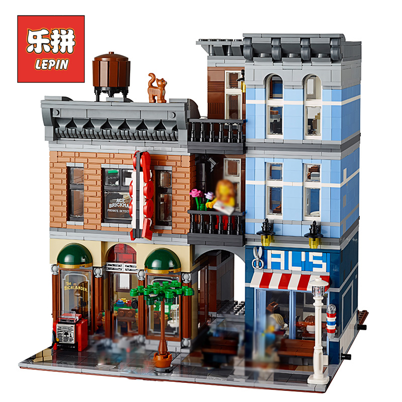 Lepin 15011 Creator City Street View Series Detective Agency Model Building Kits Blocks Bricks Set DIY Collection Toys for Child lepin 15011 parsian creator expert city street resturant minifigure avengers set assemble building blocks toys compatible legeod