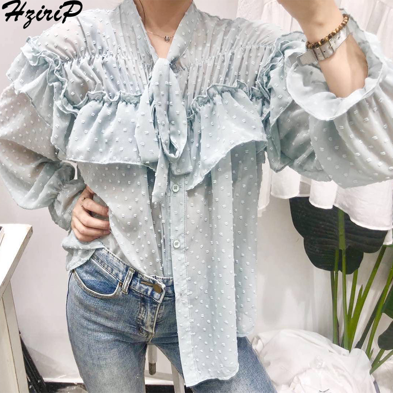 Hzirip повседневные свободные простые 2019 элегантные весенние милые свежие женские стильные кружевные Универсальные однотонные новые рубашки в консервативном стиле