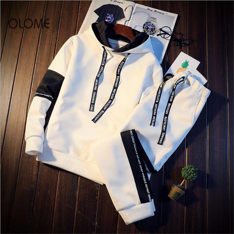 OLOME New 2019 Spring Casual Hoodies Men Off White Jacket And Pant Preppy Young People Long Sleeve Sets Student Coat Plus Size spring outfits for kids