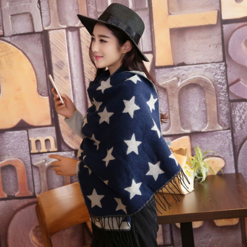 2017 Winter Women Scarves Fashion Designer Star Thick Warm Female Casual Long Cashmere Shawl Luxury Brand Black Scarves For Lady