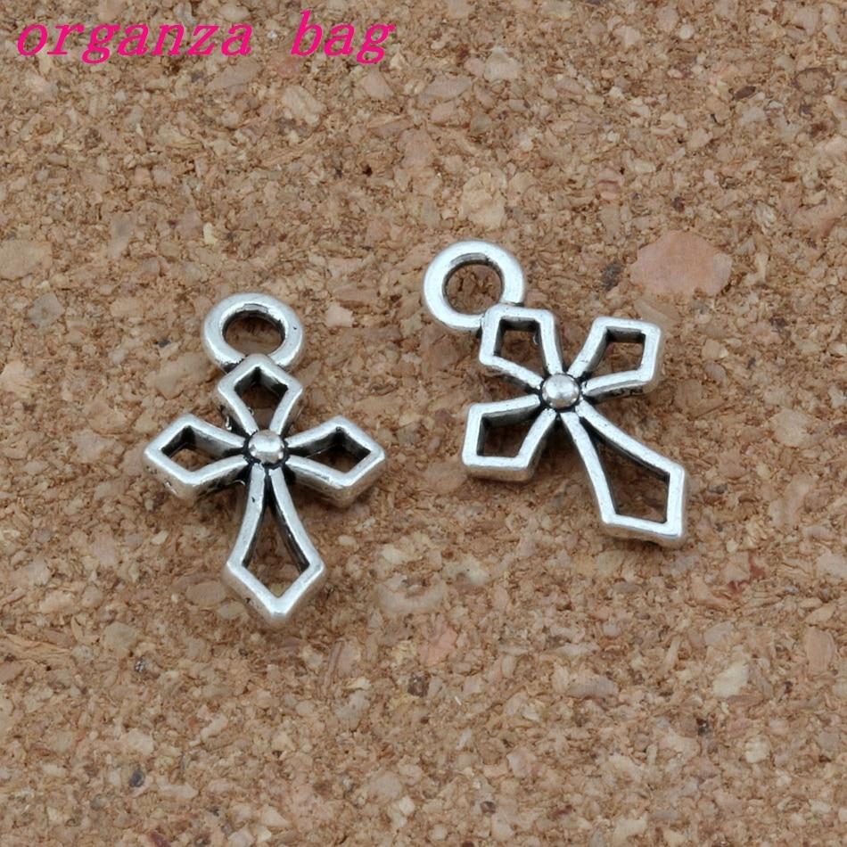 200pcs/lots Hlollow Cross Charm Antique Silver Christian Keep Faith Dangle Charms Fit Bracelets Necklace Earrings 10x17mm