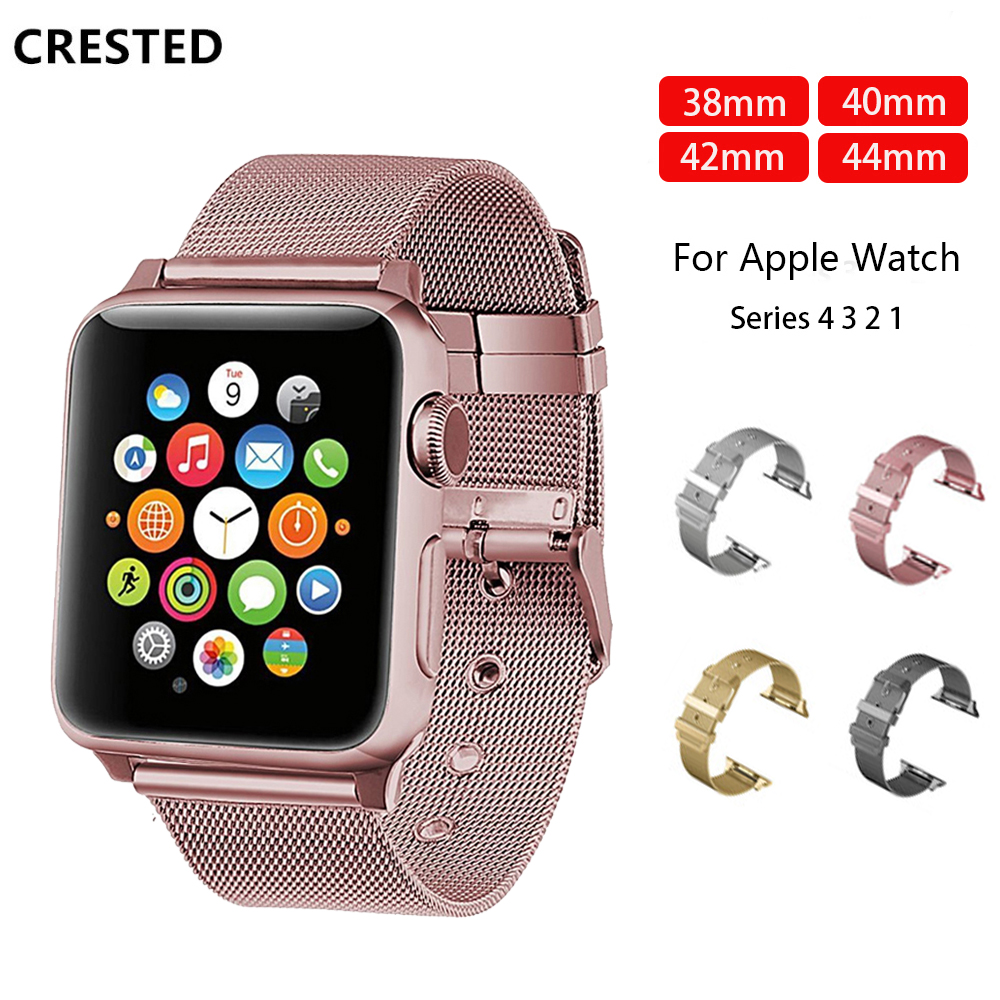 CRESTED Milanese loop Apple watch 4 3 strap for apple watch band 38mm 44 mm iWatch band 42mm 40mm Stainless steel bracelet beltCRESTED Milanese loop Apple watch 4 3 strap for apple watch band 38mm 44 mm iWatch band 42mm 40mm Stainless steel bracelet belt