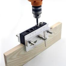 цена на Woodworking Self-Centering Pocket Hole Jig Set 6/8/10mm Drill Bushings Guide Hole Puncher Locator Drill Bit DIY Carpentry Tools