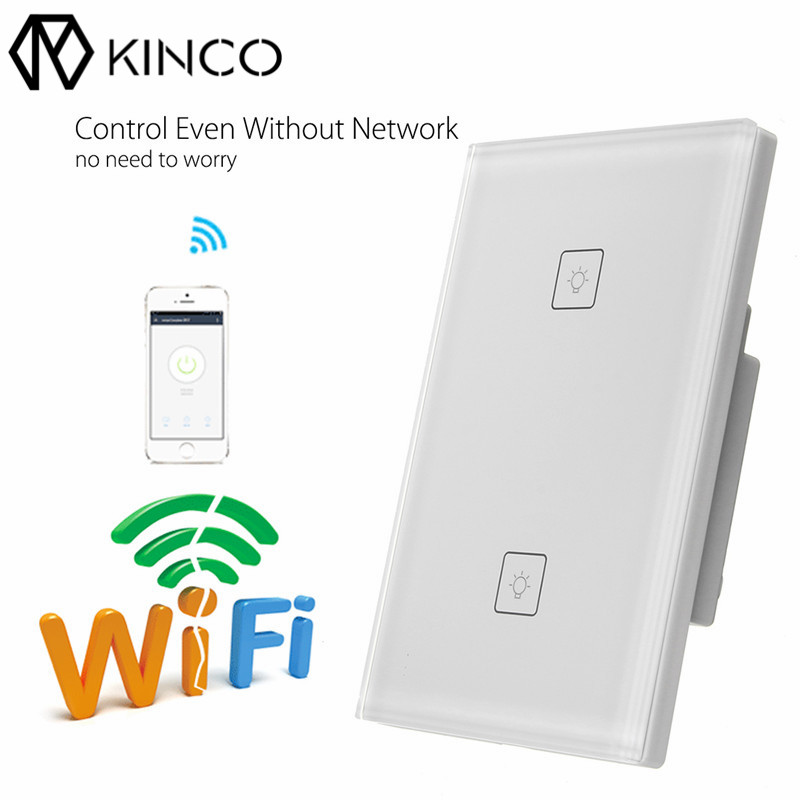 KINCO Smart Panel Switch AC 100-240V 1/2/3 10A Way US Timing Smart Hmoe APP Remote Control Wi-Fi Connection for Smart Phone ...
