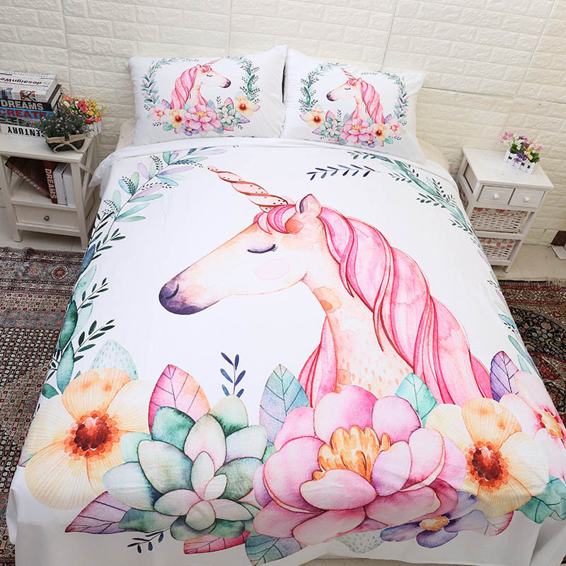 King Size Bedding Set White Flower and Unicorn Printed Bed Linen