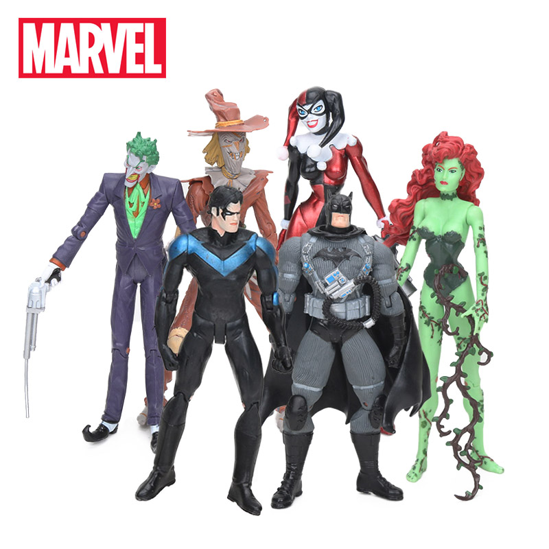 18cm Marvel Toy 6pcs/set Justice League Batman Joker Poison Ivy Harley Quinn Scarecrow Grayson Pvc Action Figures Avengers Toys