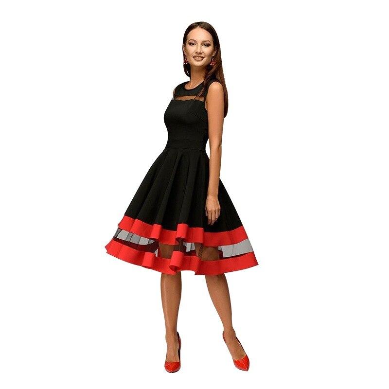 2b55b2e75cc409 S.FLAVOR Women summer Vestidos sexy Sleeveless mesh patchwork A-line dress  for female