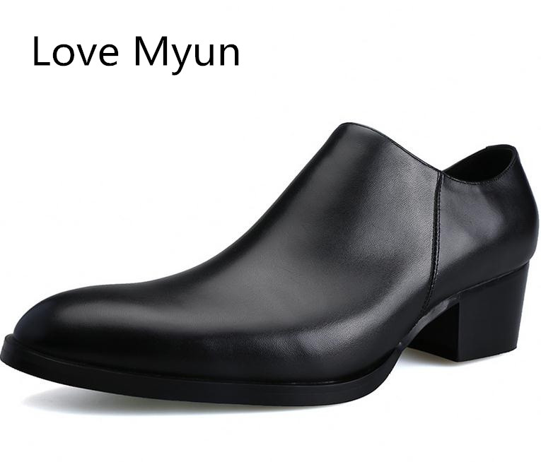 Genuine leather men shoes high heels fashion pointed toe zip height increase 5 CM black wedding