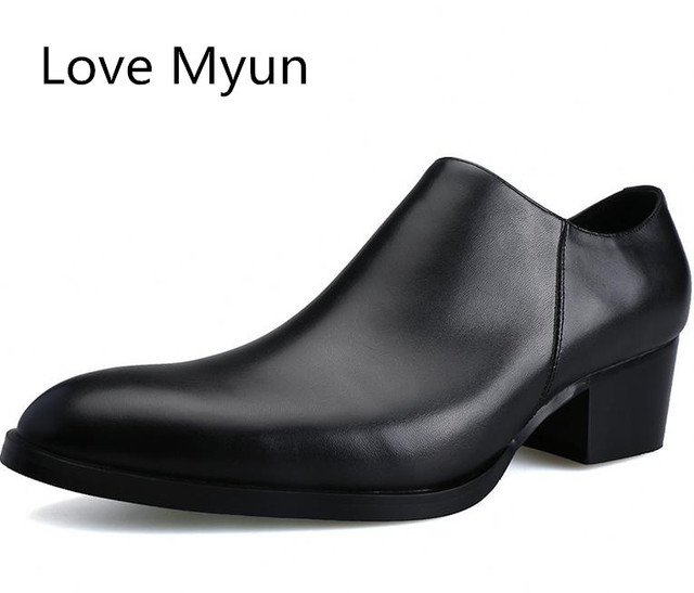 Genuine leather men shoes high heels fashion pointed toe zip height increase 5 CM black wedding dress shoes career work shoes