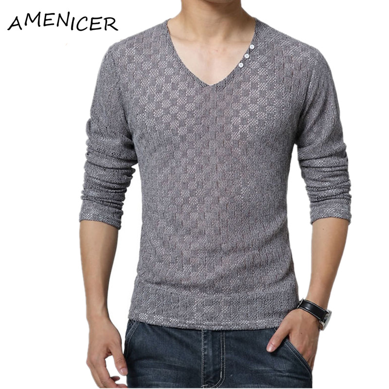 Hot sale 2016 mens t shirt slim fit v neck fashion large for Mens long sleeve t shirts sale