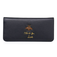 New ladies fashion multi card leather wallet Cross section first layer leather bee simple large capacity long mobile phone walle