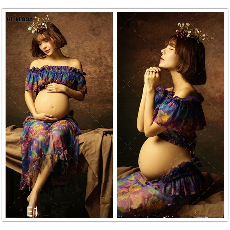 Summer Royal Pregnant Women Photography Fashion Props Long Strach Cotton Dress Maternity Clothes Colorful Photo Shoot Soft Gown 2016 summer new maternity clothes for the pregnant women 100% cotton fashion maternity dress doll dress big size gravida clothes