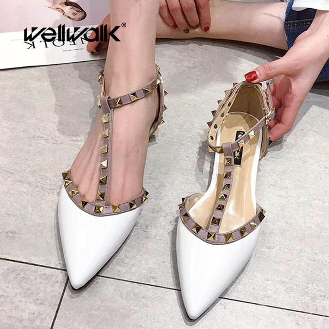 Wellwalk Ankle Strap Flat Shoes Women Summer Rivet Slippers Ladies Brand T-Tied Design Mules Shoes Pointed Toe Ballet Flats Lady