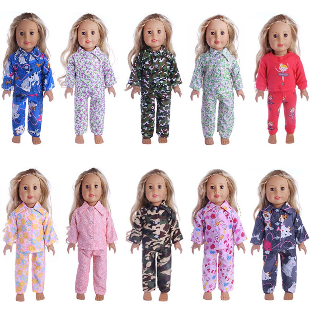 Kids Fun Novelty Toy Gift clothes for dolls Cute Pajamas Nightgown Clothes for 18 inch Our Generation American Girl Boy Doll fashion 7 sets clothes outfits suitable for 18 american girl doll colorful tops pants with hat dress pajamas christmas gift