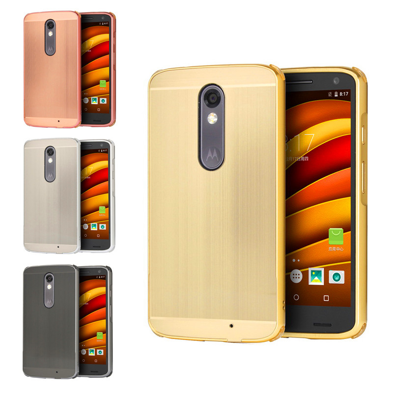 the best attitude e7cc1 24013 US $8.69 |For Moto X Force XT1581 Case Metal Frame with Brush Back Cover  Hard Case for Motorola Moto X Force Droid Turbo 2 XT1580 XT1585-in Fitted  ...