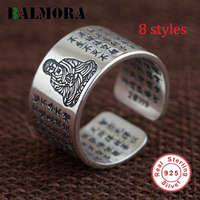 BALMORA 100 Real 990 Pure Silver Buddhist Mantra Rings For Women Men Opening Ring 8 Styles