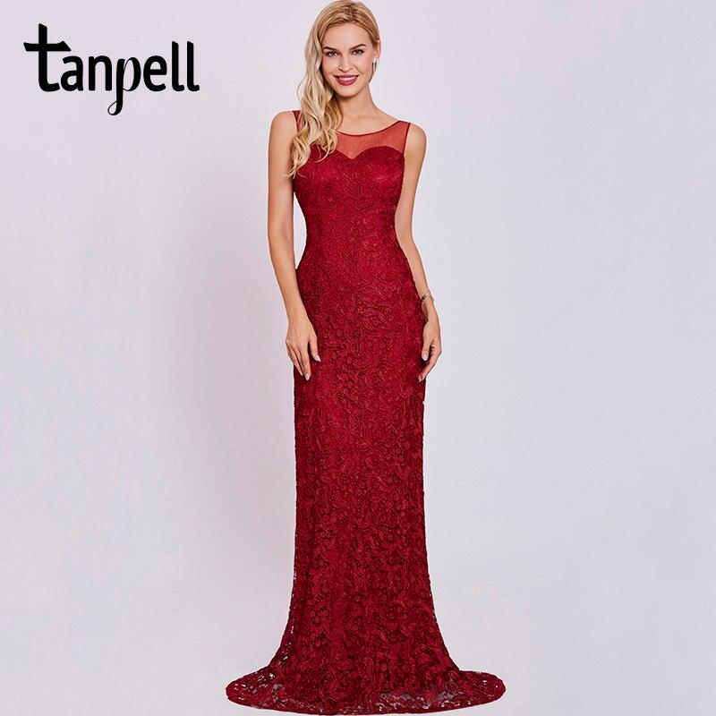 fb3efbc11 Tanpell Scoop Neck vestido de noche Borgoña sin mangas vaina la longitud  del piso del vestido mujeres LACE Appliques formal vestidos de noche largos