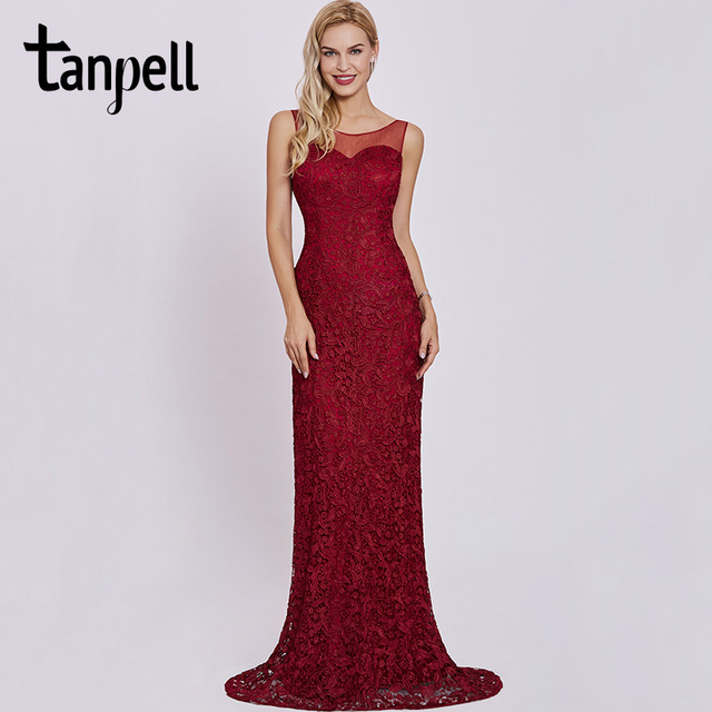 e2f28cdd6fe7e Tanpell scoop neck evening dress burgundy sleeveless sheath floor length  gown women lace appliques formal long evening dresses