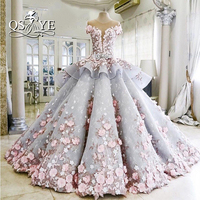 Vestidos De Novia 2017 Luxury Ball Gown Wedding Dresses Princess Sweetheart Pink Hnadmade Made Flowers Court