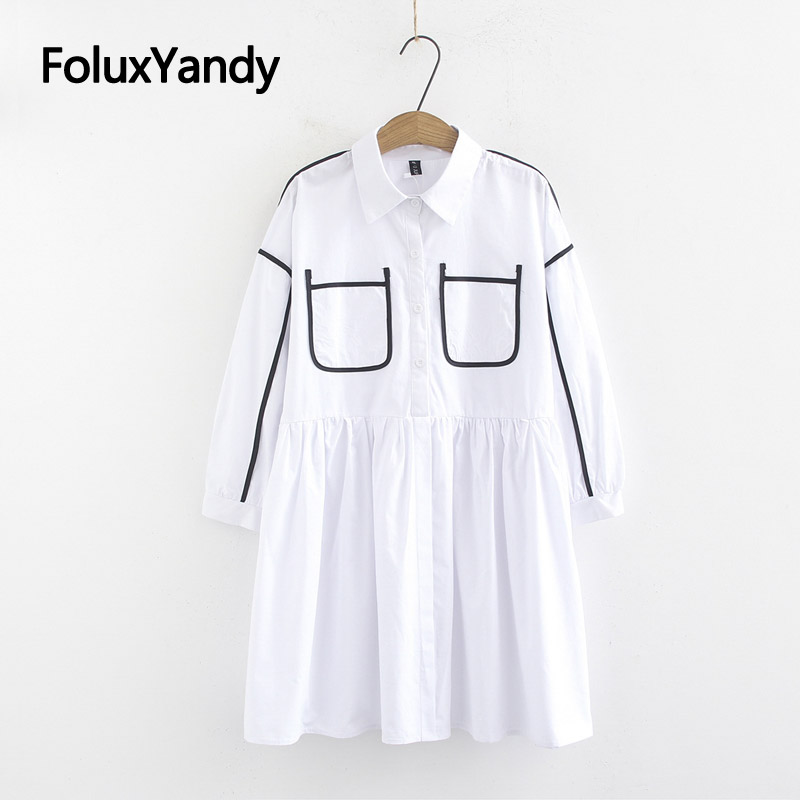 Casual Striped White Blouses Turn down Collar Shirts Women Plus Size Loose Long Blouse KKFY3193 in Blouses amp Shirts from Women 39 s Clothing