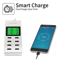 US EU UK Multi 8 Usb Ports Charger With Lcd Screen Travel Smart Charger For