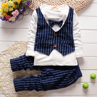 2016 Spring Gentleman Baby Boys Clothing Set Bowknot Vest Kids Clothing Set Plaid Pants British Waistcoat