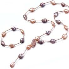 2016 de La Moda de Joyería de Perlas Largo Collar de Perlas Barroco Perlas de Agua Dulce Natural de La Joyería de Declaración de Las Mujeres Collar de Regalo del Amigo