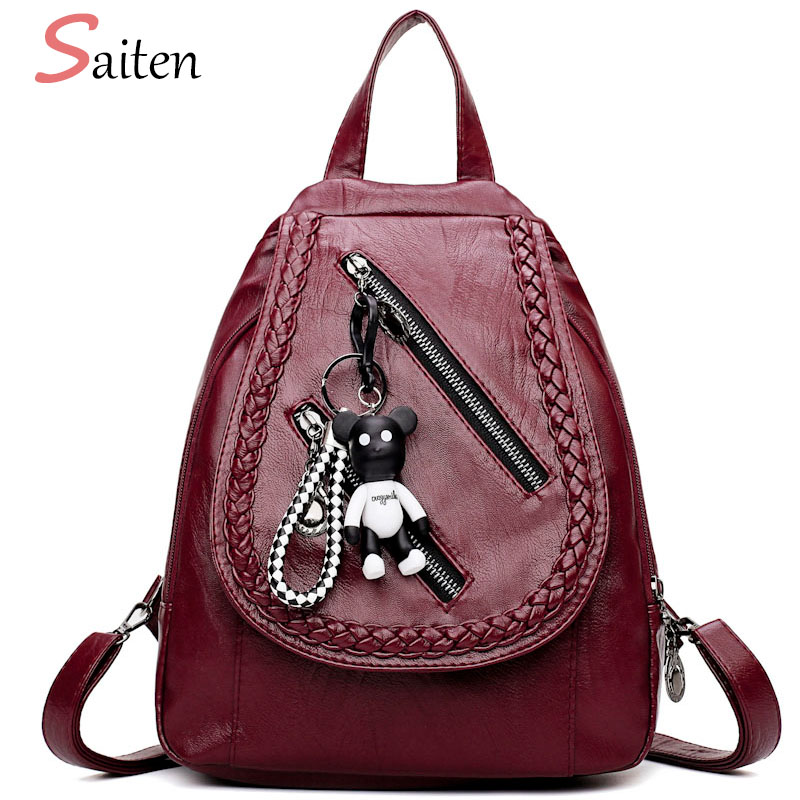 Saiten New 2017 Women Backpacks Fashion Cute Bear Decoration Black Red Ladies Chest Bag  ...