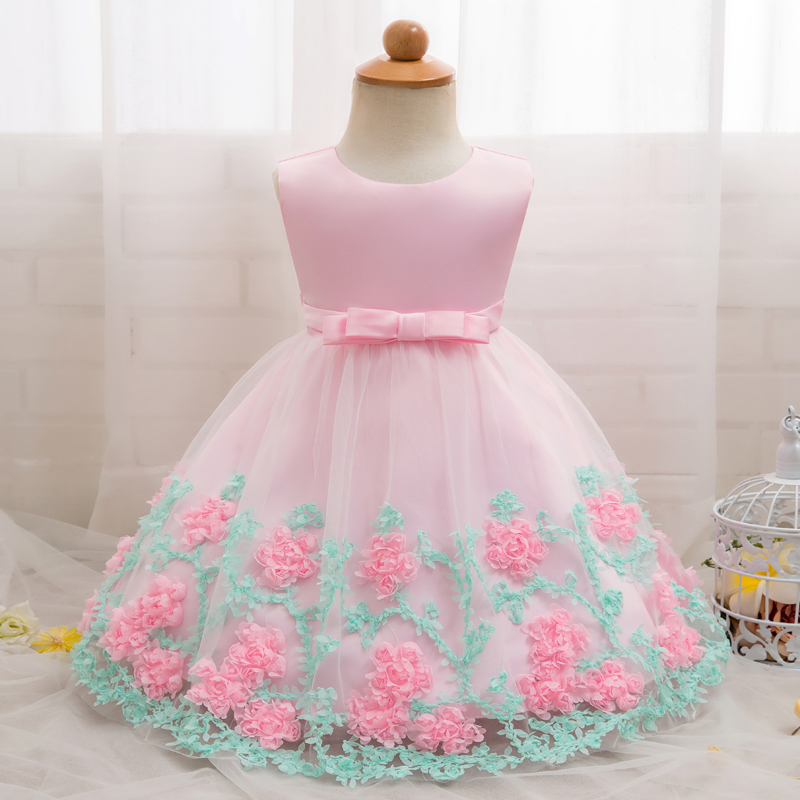 NewBorn Baby Girls Clothes Floral Dresses Party Wedding 1st Birthday Outfits Litter Princess Baptism Christening Infant Clothing