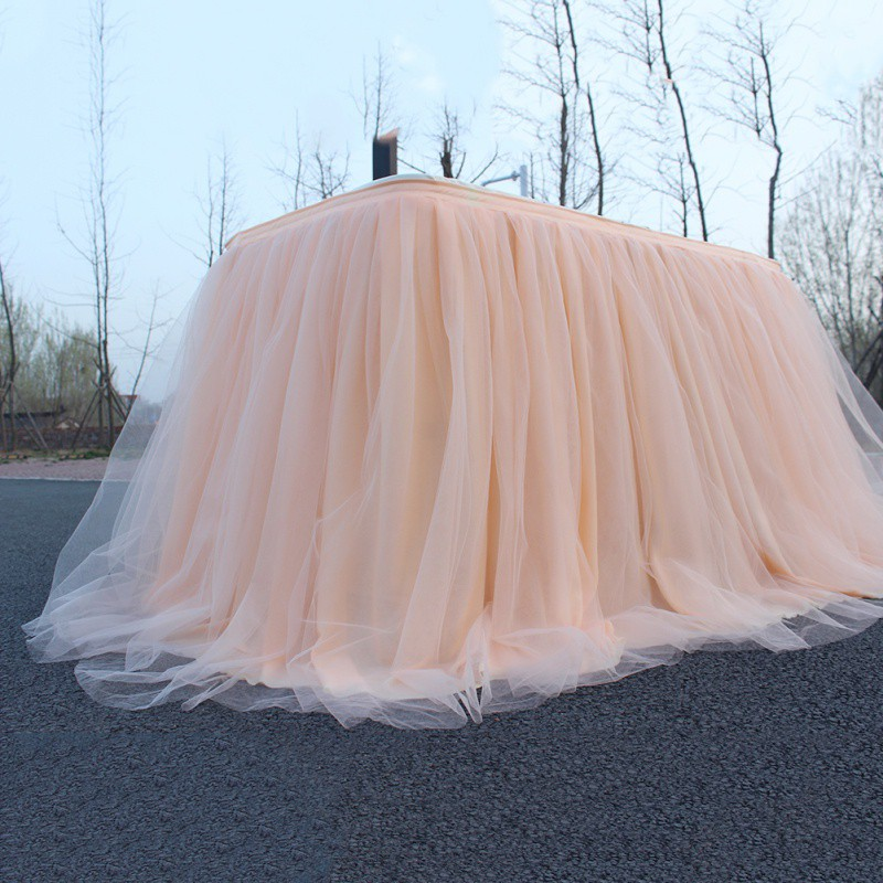 Multi-colors Tulle Tutu Table Skirt Tableware Wedding Decoration Baby Shower Party For Table Skirting Home Textile With Clip