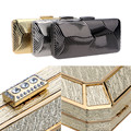 Diamonds Pu women evening bags small purse day clutches evening bag leather fashion tie gold/silver/black handbags for wedding