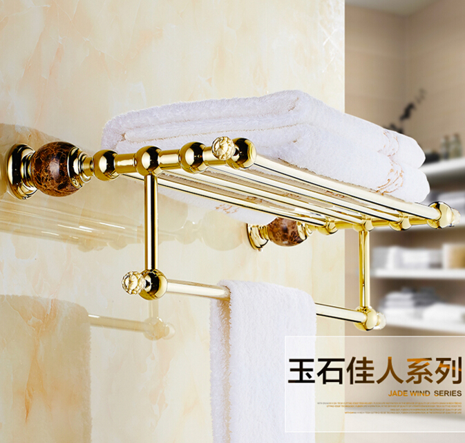 HOT SELLING High Quality Bathroom towel holder, Gold Brass towel rack,60cm towel bar,towel shelf