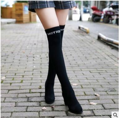 ФОТО Fashion 2016 over-the-knee stovepipe elastic boots round toes rhinestone high boots