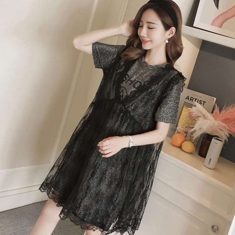 Lace Maternity Clothing Summer Novelty Pregnancy Dress Floral Fashion Maternity Clothes For Pregnant Women Vestidos