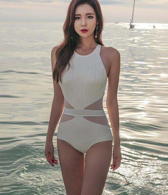 359f5768cab 2019 one piece suits swimsuit sexy stripe solid lady NET Yarn Dew Back swimwear  women female bathing suit nylon bikinis swimsuit
