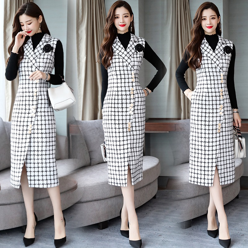 Élégant Filles Jupe Jarretelles Femmes Casual Style D'hiver Doux Noir blanc Tweed Nouveau Mode Pour Jeunes Preppy Jupes B4wqq1Hx7