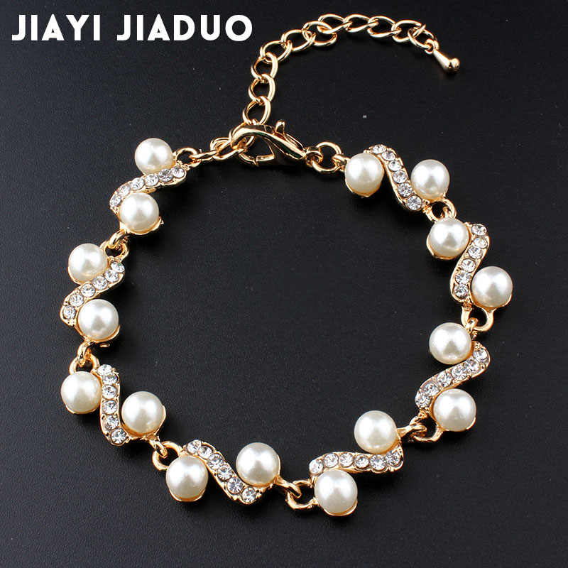 Jiayijiaduo Popular Ornaments White Imitation Pearl Bracelets for Women Jewelry Gold Color 801