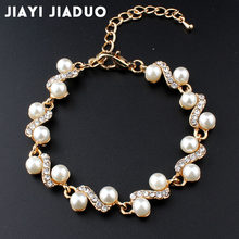 Jiayijiaduo Popular Ornaments White Imitation Pearl Bracelets for Women Jewelry Gold Color 801(China)