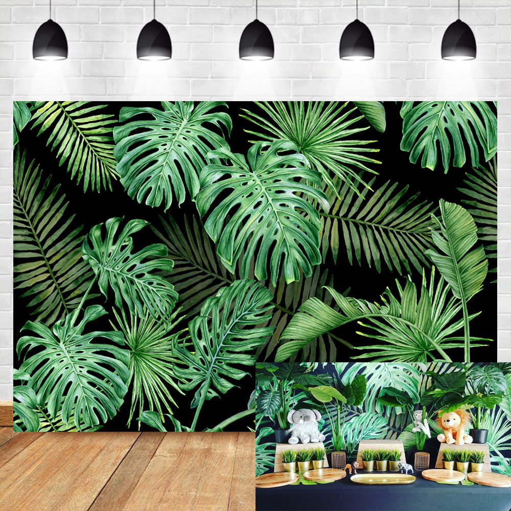 Neoback Summer Green leaves Backdrop Baby Shower Birthday Party Photography Background Dessert table decoration background in Background from Consumer Electronics