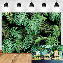 Neoback Summer Green leaves Backdrop Baby Shower Birthday Party Photography Background Dessert table decoration background