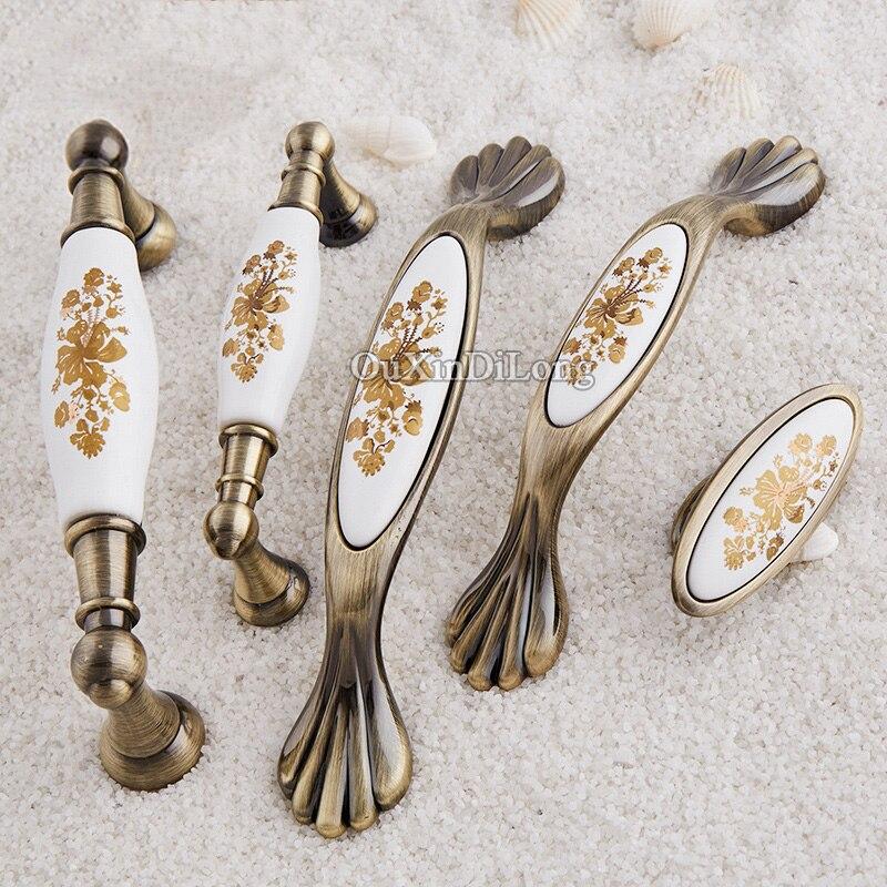 Vintage Europe Ceramic Door Knobs Cabinet Cupboard Drawer Pull Handles