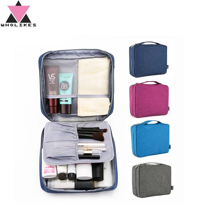 Wholikes New Women Travel Cosmetic Bags Hanging Wash Bag Makeup Daily Supplies Hanging Toilet Organizer Bag