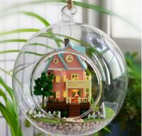 Wood Model DIY Glass Ball Wooden Doll House Miniature Dollhouse With Lights
