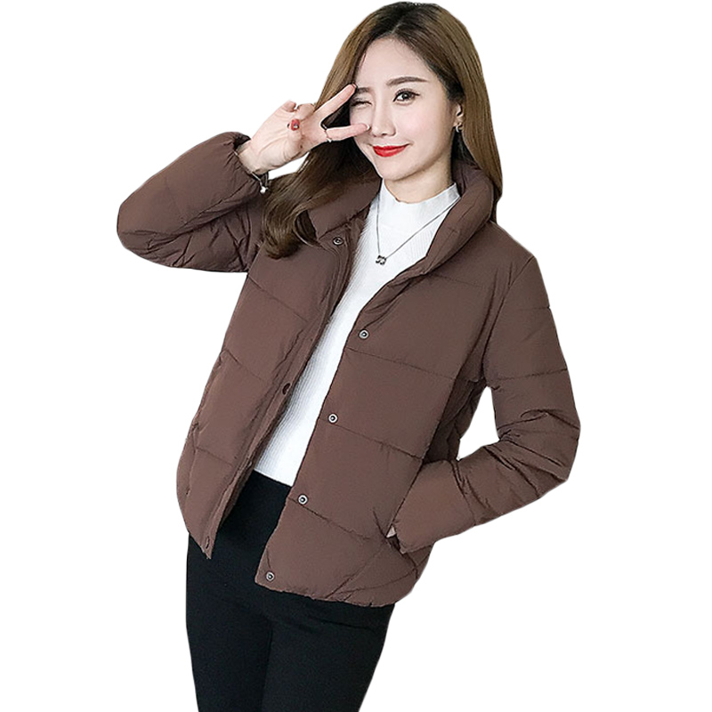 Parka Women 2017 Winter New Short Quilted Jacket Stand Collar Single Breasted Cotton Padded Coat Female Outwear All Match XH828 free shipping boruoss 2015 new fashion winter cotton coat women short single breasted coat boruoss w1292