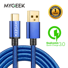 MyGeek USB Type C Cable Mobile Phone Charging Cables for Samsung Xiaomi mi 5 Oneplus Meizu LG Nexus Huawei usb type type-c cable(China)