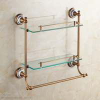 European Luxury Bronze Antique Ceramic Bathroom Glass Shelf Wall Mounted Double Layer Glass Shelves Bathroom Accessories