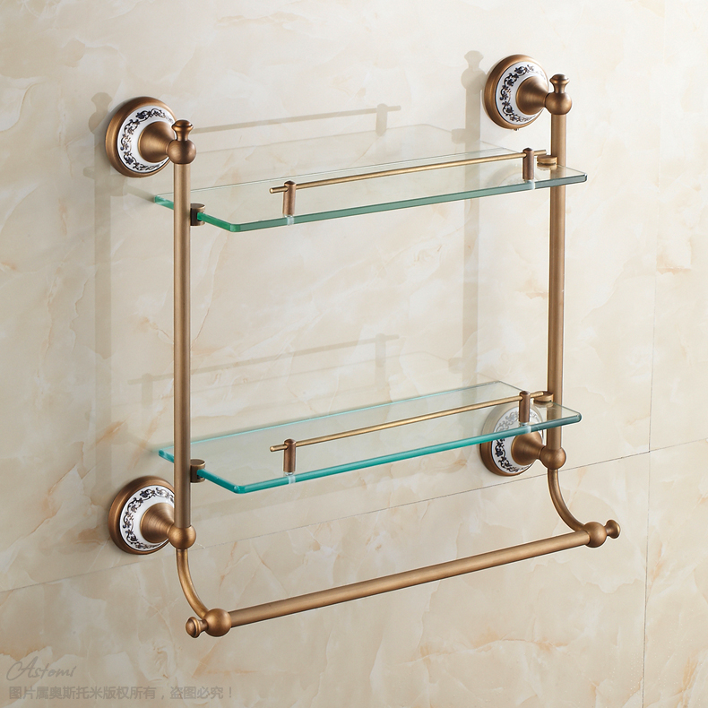 european luxury bronze antique ceramic bathroom glass shelf wall mounted double layer glass shelves bathroom accessories
